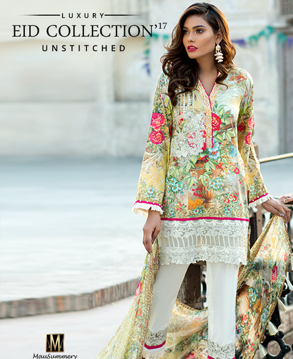 Mausummery Digital Printed Embroidered Lawn Chiffon Suit for Eid