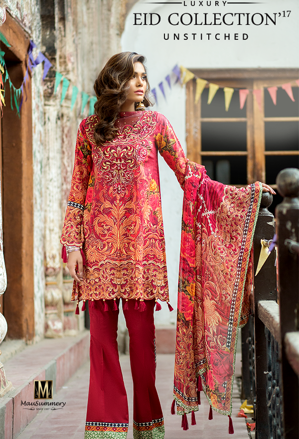 Mausummery Embroidered Digital Printed Lawn Chiffon Suit for Eid