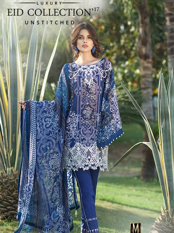 Royal Blue Embroidered Printed Lawn Chiffon Suit for Eid