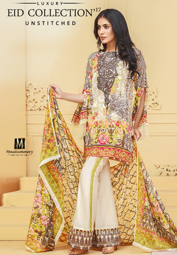 Mausummery Embroidered Printed Lawn Jacquard Eid Suit with bell bottom pants