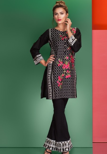 Mausummery BROAD PEAK Jet Black embroidered Eid dress with bell bottoms