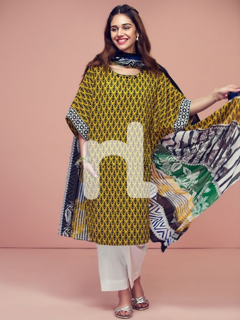 Yellow printed lawn summer outfit by Nishat