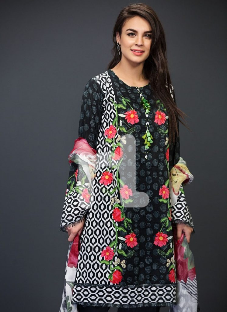 Floral printed black lawn suit