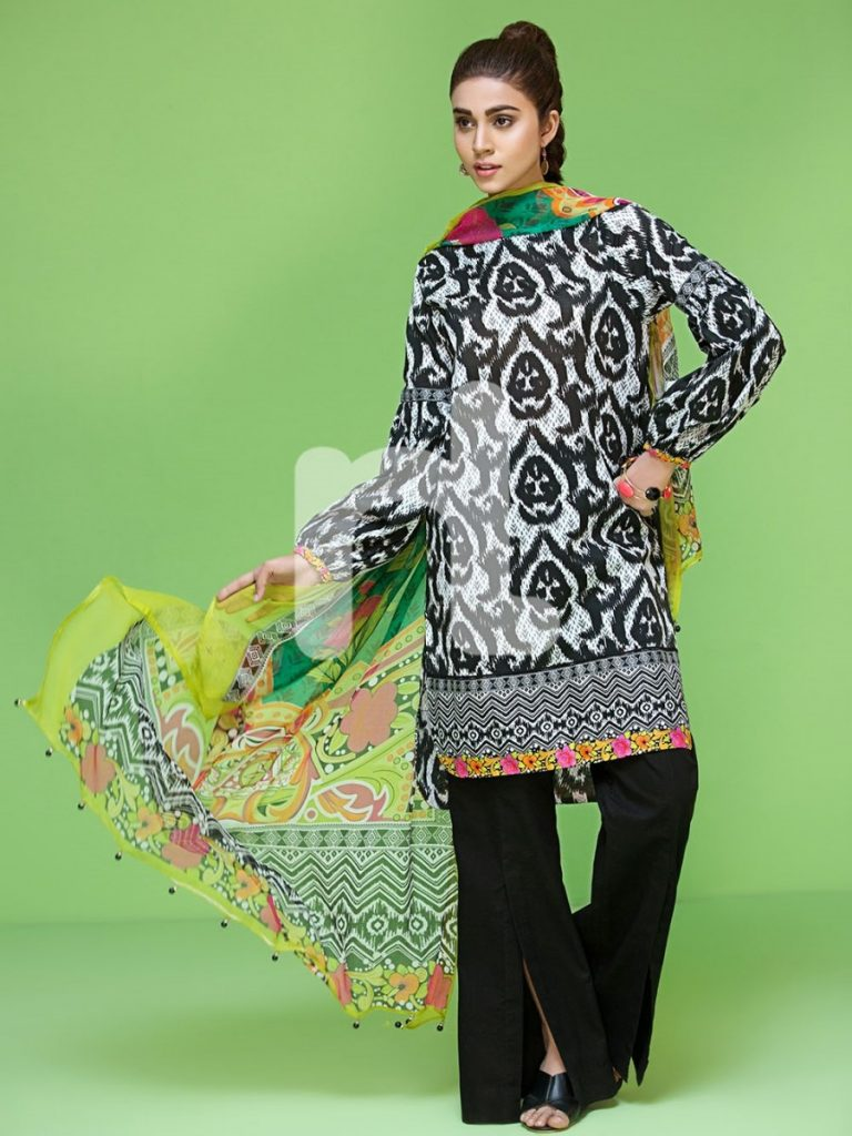 Black lawn suit with multicolored dupatta