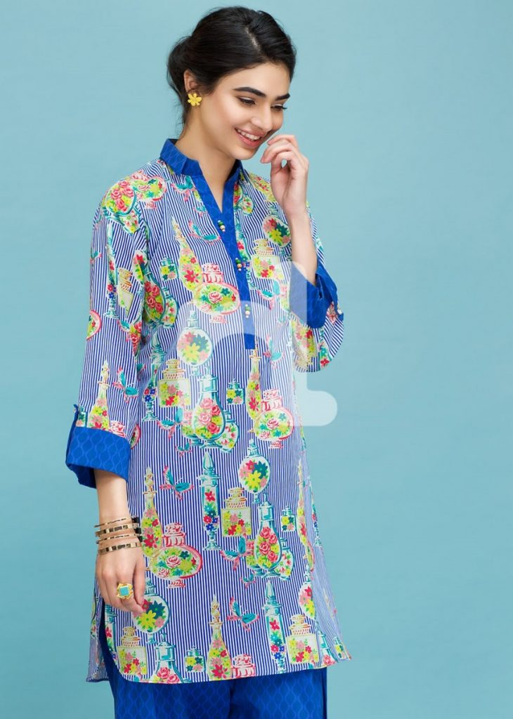 Nishat printed blue colored lawn outfit