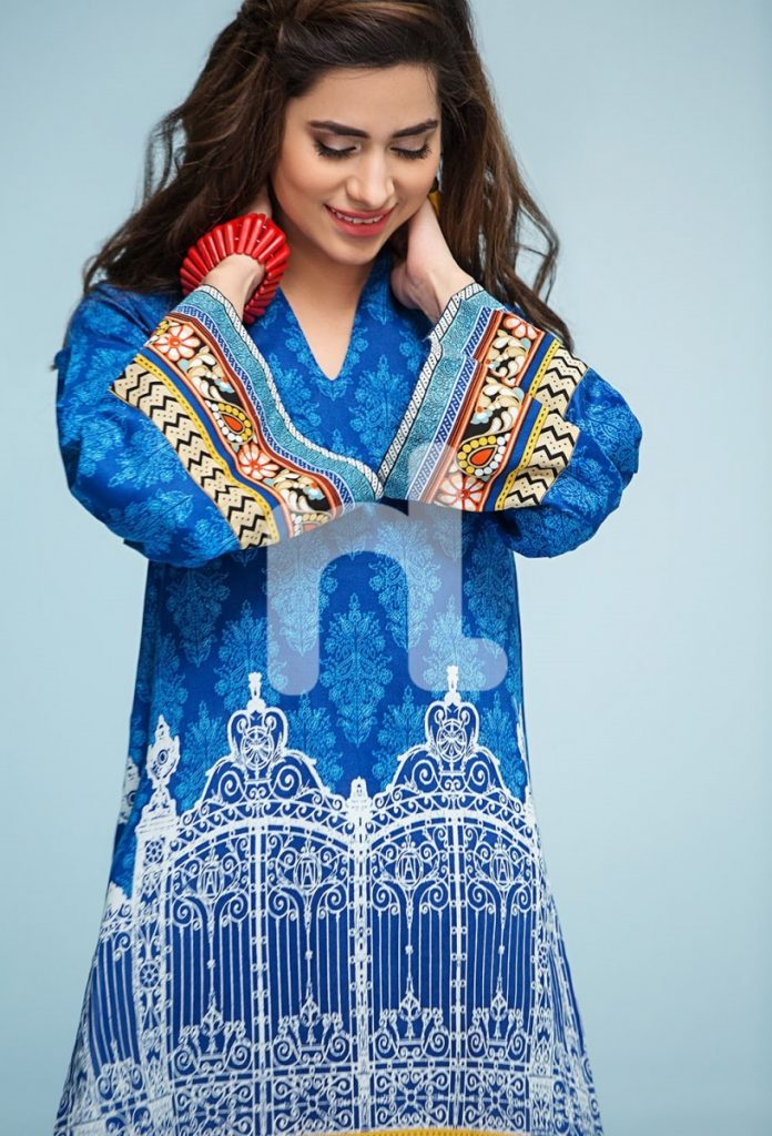 royal blue lawn suit by Nisha Nishat