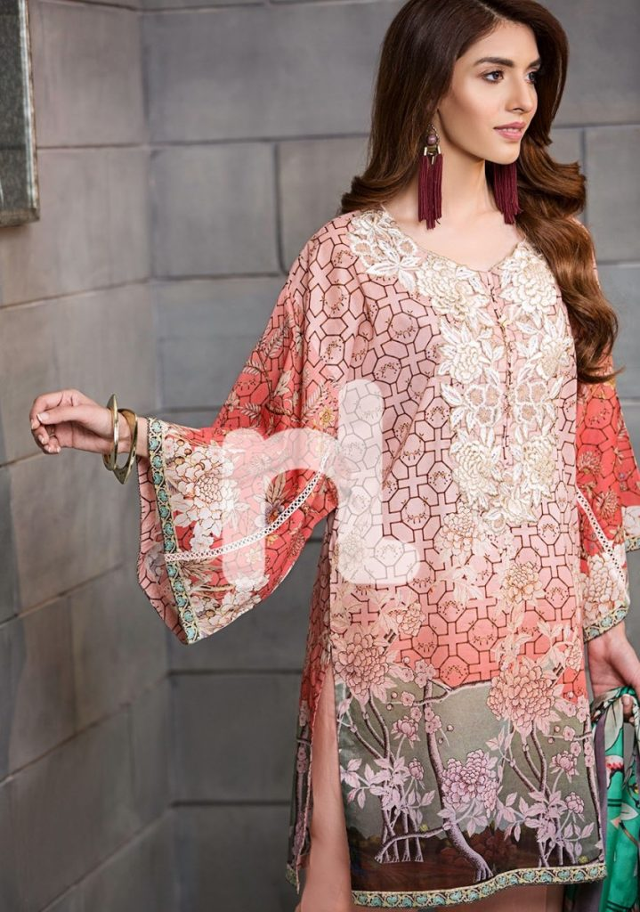 Pink embroidered lawn suit by Nishat