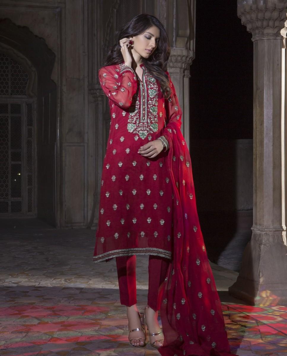 Maroonish Red Chiffon Self Mughal Maharani Festive outfit by Bareeze