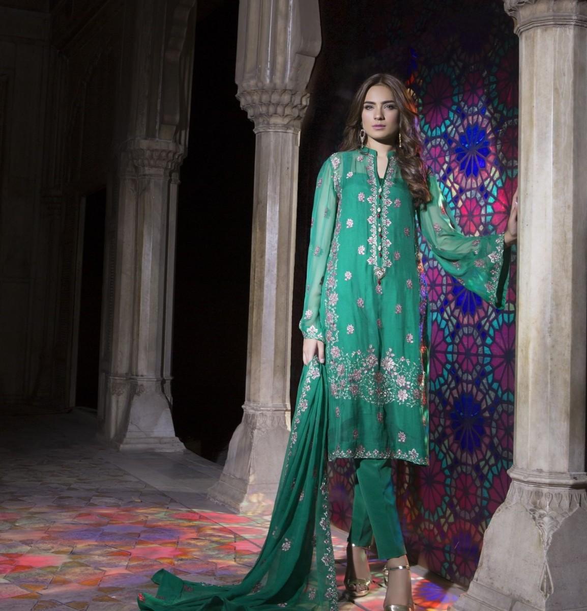 Dark Green Chiffon Self Mughal Maharani Eid Dress by Bareeze