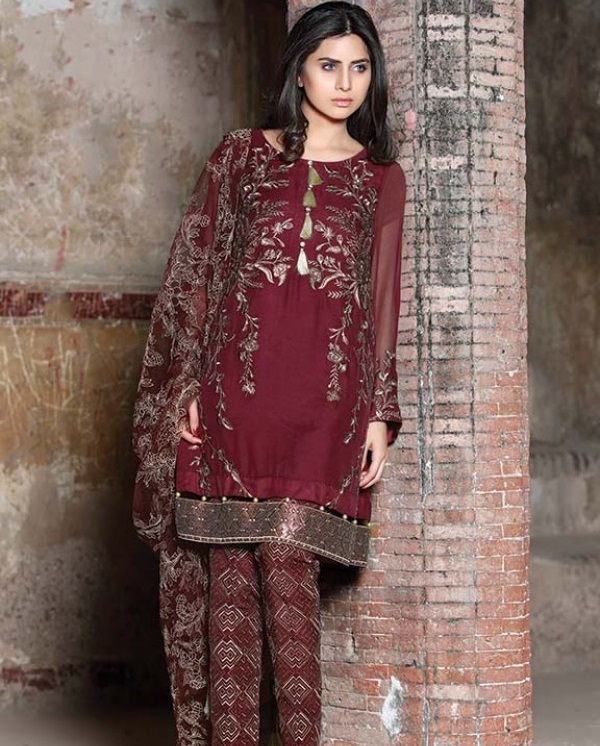 Motifz Embroidered Crinkle Chiffon Eid suit in Ruby Wine Color