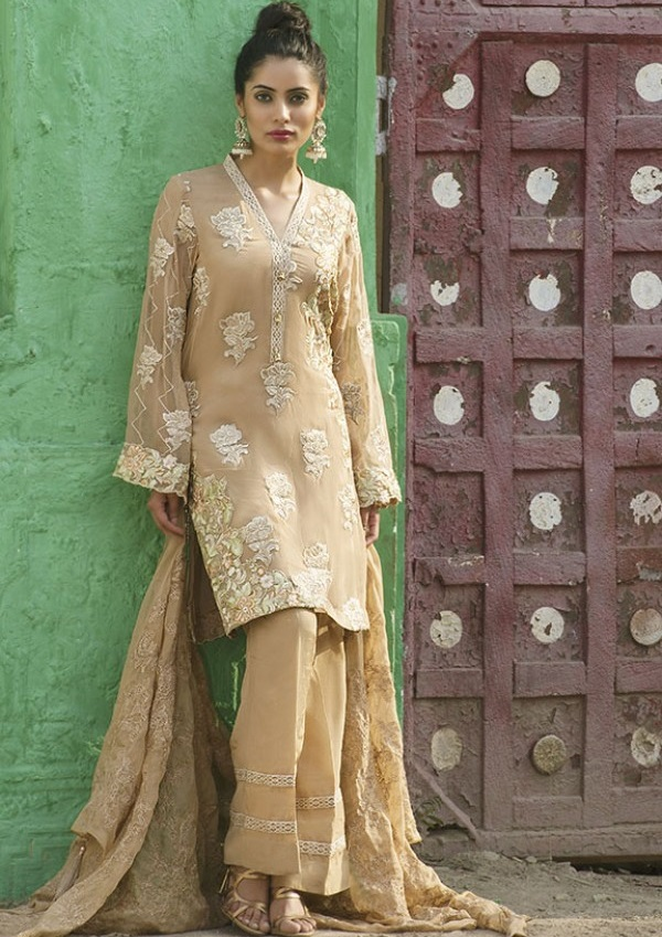 CAMEL COLORED EMBROIDERED CRINKLE CHIFFON UNSTITCHED SUIT FOR EID