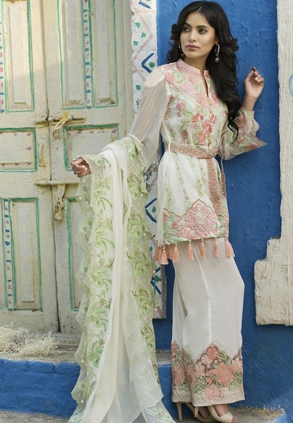 Motifz PLATINUM EMBROIDERED CRINKLE CHIFFON SUIT for Eid