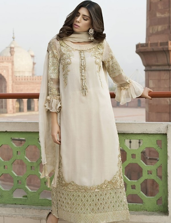 Motifz Pure Embroidered Crinkle Chiffon Eid Dress With Hand Embellishment