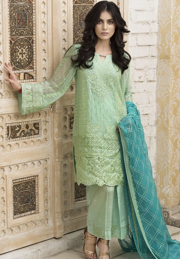 Turquoise Green colored fancy chiffon eid dress by Motifz