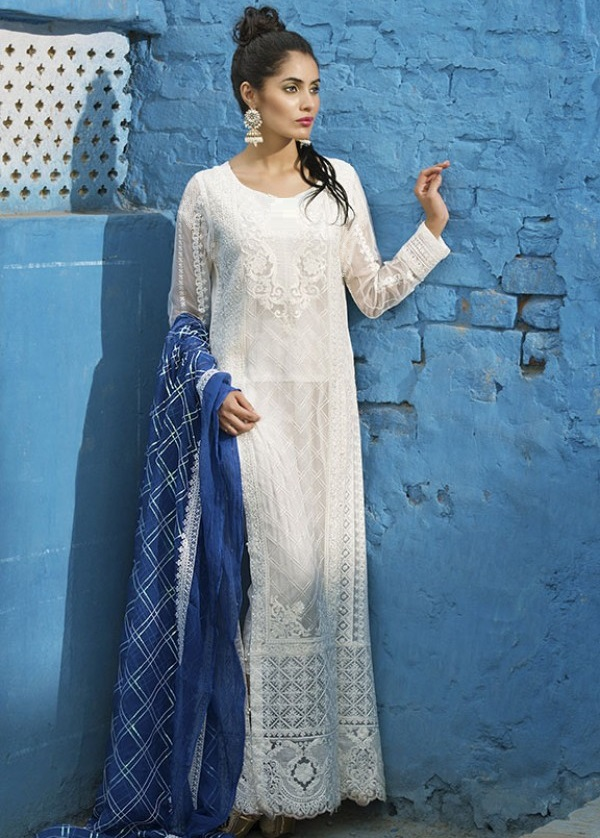 Beautiful white crinkle chiffon Eid dress with blue chiffon dupatta