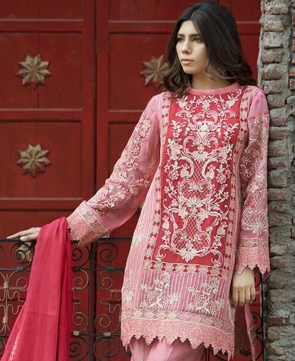 Motifz Spanish Pink Luxury Embroidered Eid Dress