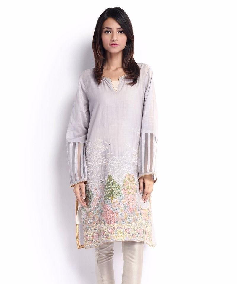 Sana Safinaz Cotton Eid Shirt with organza on sleeves border