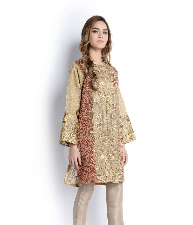 Sana Safinaz fancy Eid shirt with thread work on sleeves and front