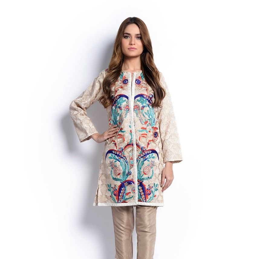 Sana Safinaz Colorful embroidered front open style jacket for Eid