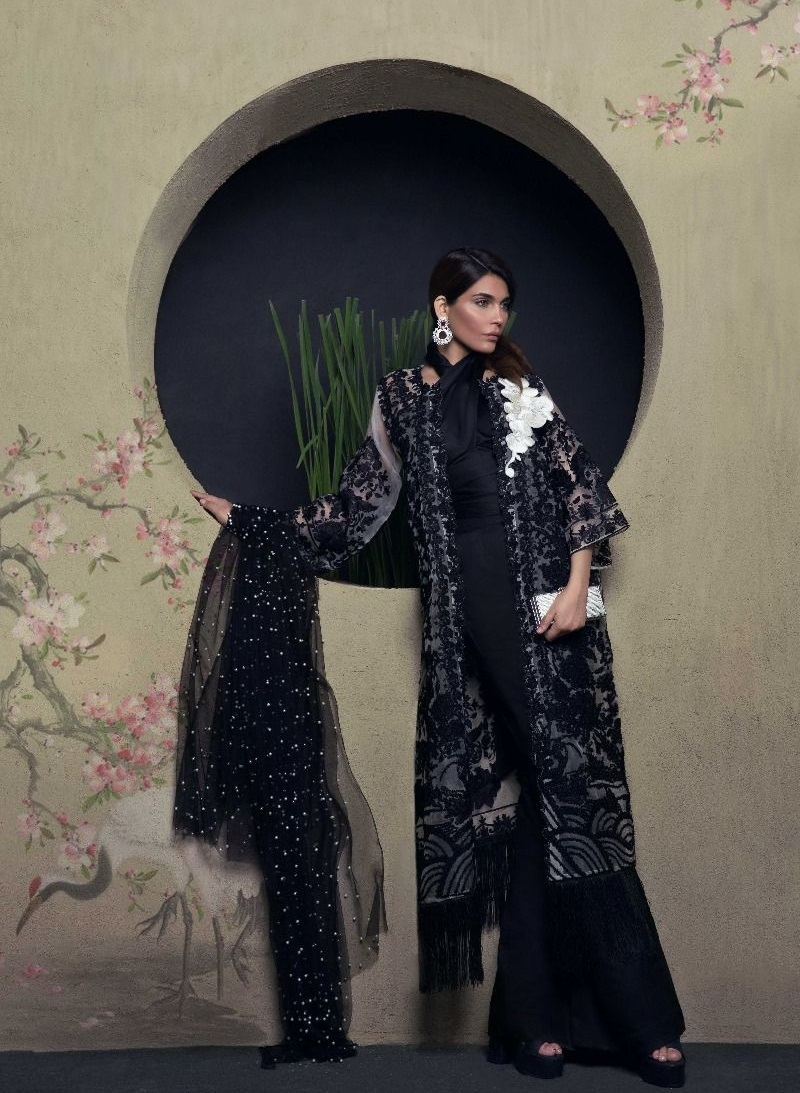 White Organza Eid Shirt with black cord and beading by Sana Safinaz