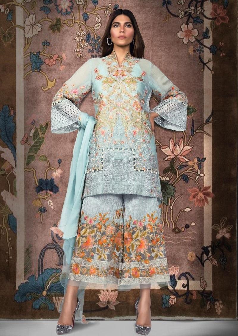 Sana Safinaz Ice-blue cotton net dress with silver tilla embroidery
