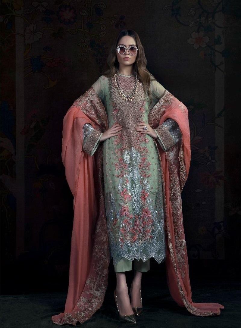 Sana Safinaz Fancy Resham Embroidered Cotton Net Eid Dress with embroidered side kali