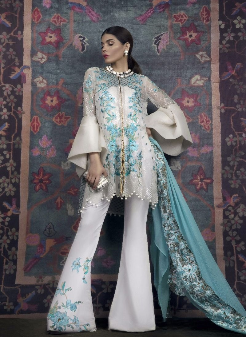 Sana Safinaz Ferozi Floral Embroidered Polynet Eid Dress with White Sequins