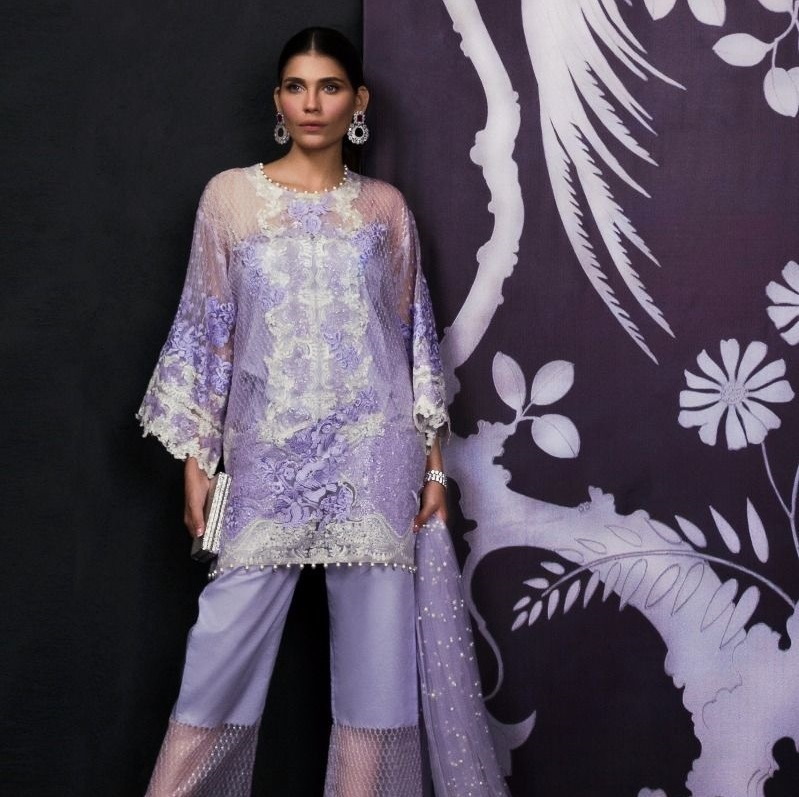 Lavender Organza Embroidered Shirt with Side Kali and Pearl Embellished Dupatta for Eid by Sana Safinaz
