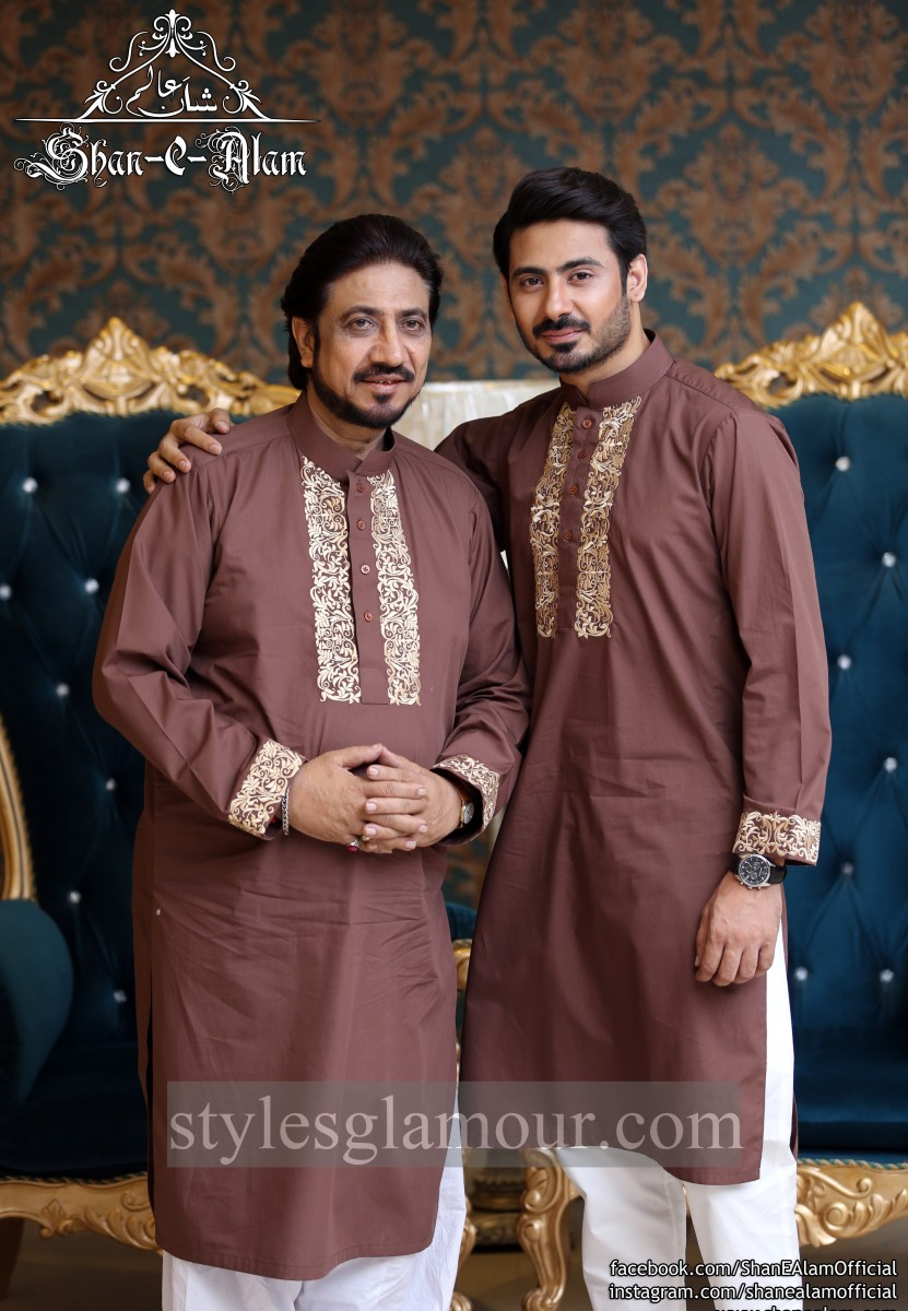 Ustad Hamid Ali Khan with his son posing for Shan-e-alam brand