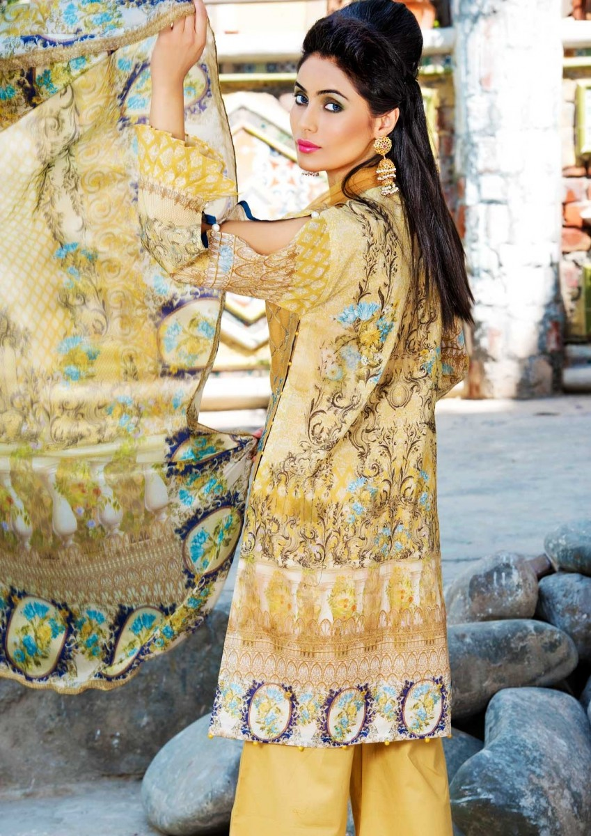 Warda Mustard printed Eid Dress