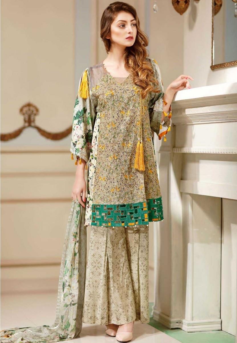 Warda Mystic Island Digital printed embroidered Eid dress with chiffon dupatta