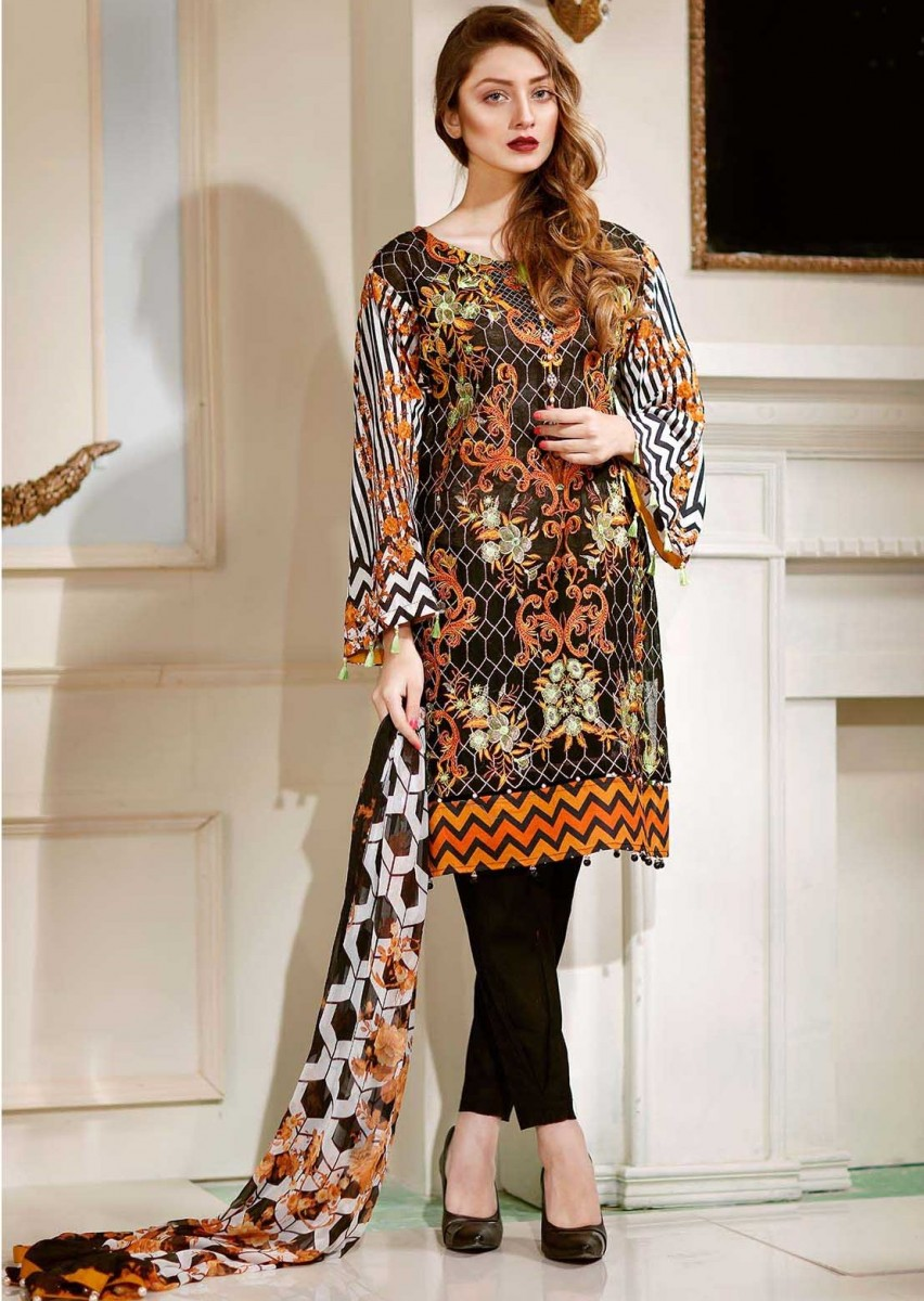 Warda Rustic Waves embroidered cotton net suit for Eid