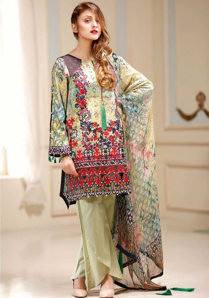 Blue Ombre colorful embroidered Eid suit by Warda