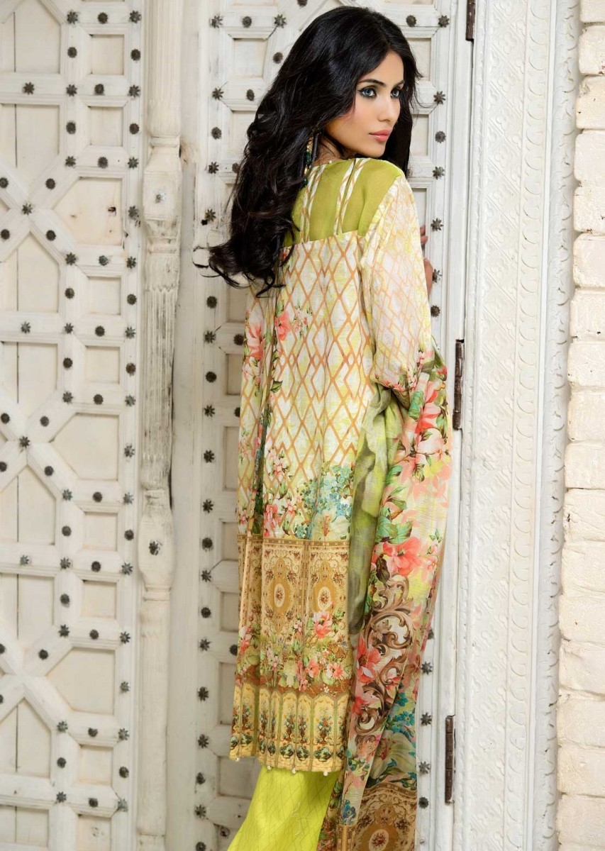 Beautiful Lemon colored Eid outfit by Warda Melange Eid Collection