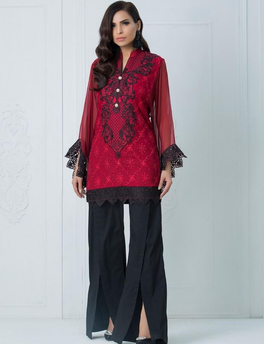 Zainab Chottani Embroidered Red Kaftan for Eid