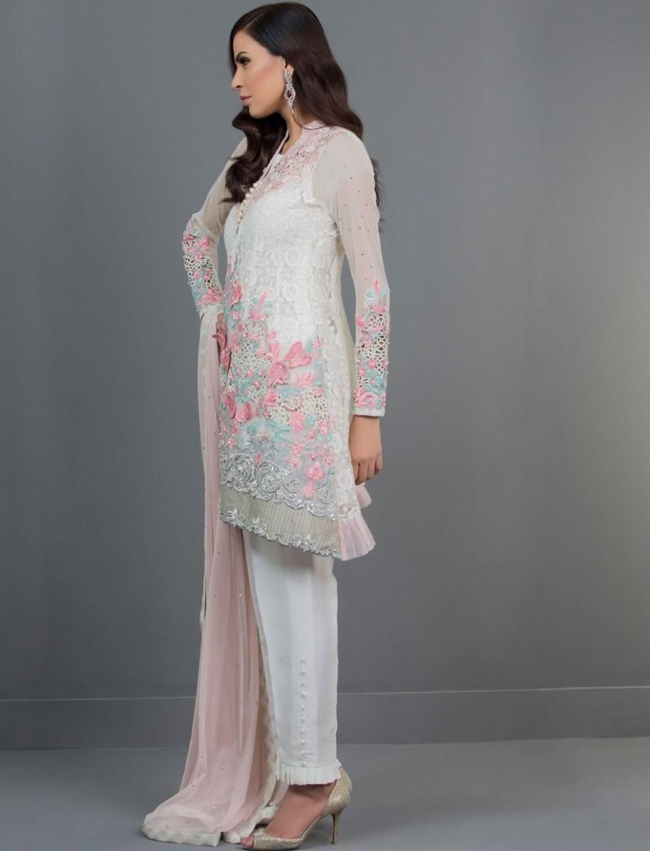 IVORY BLOSSOM embroidered fancy Eid Dress by Zainab Chottani