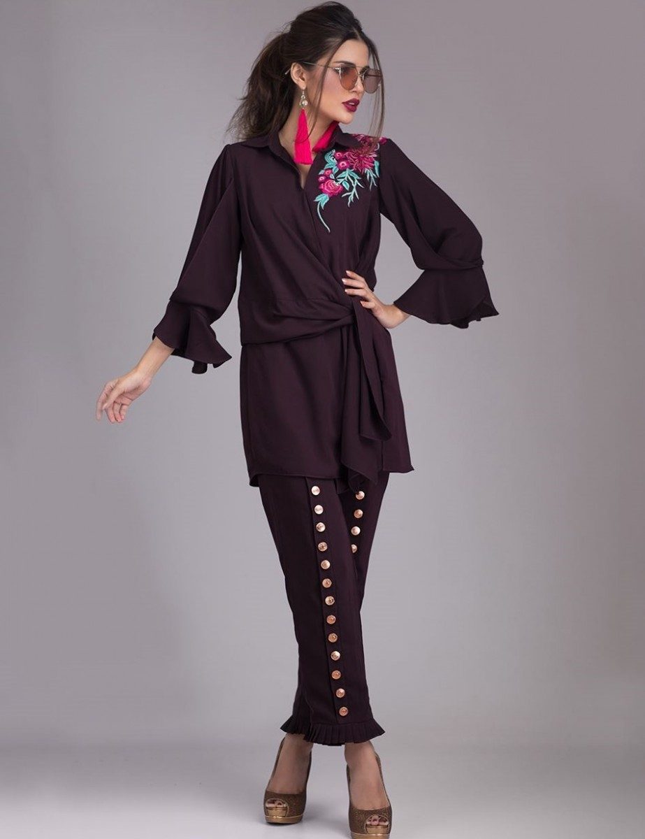 Zainab Chottani Deep Plum Eid Top with frill pants embellished with antique buttons