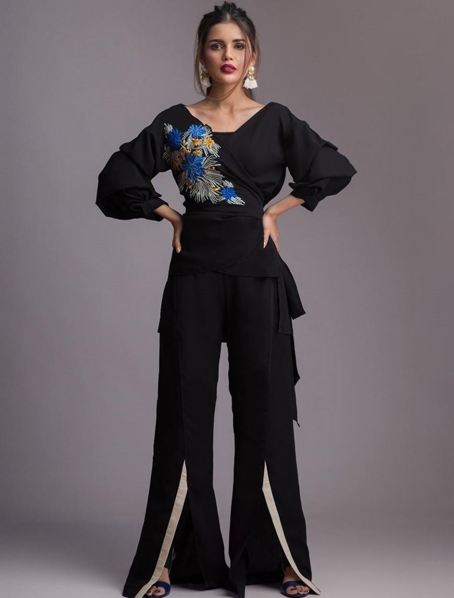 Black CRYSANTHEME formal Eid outfit by Zainab Chottani