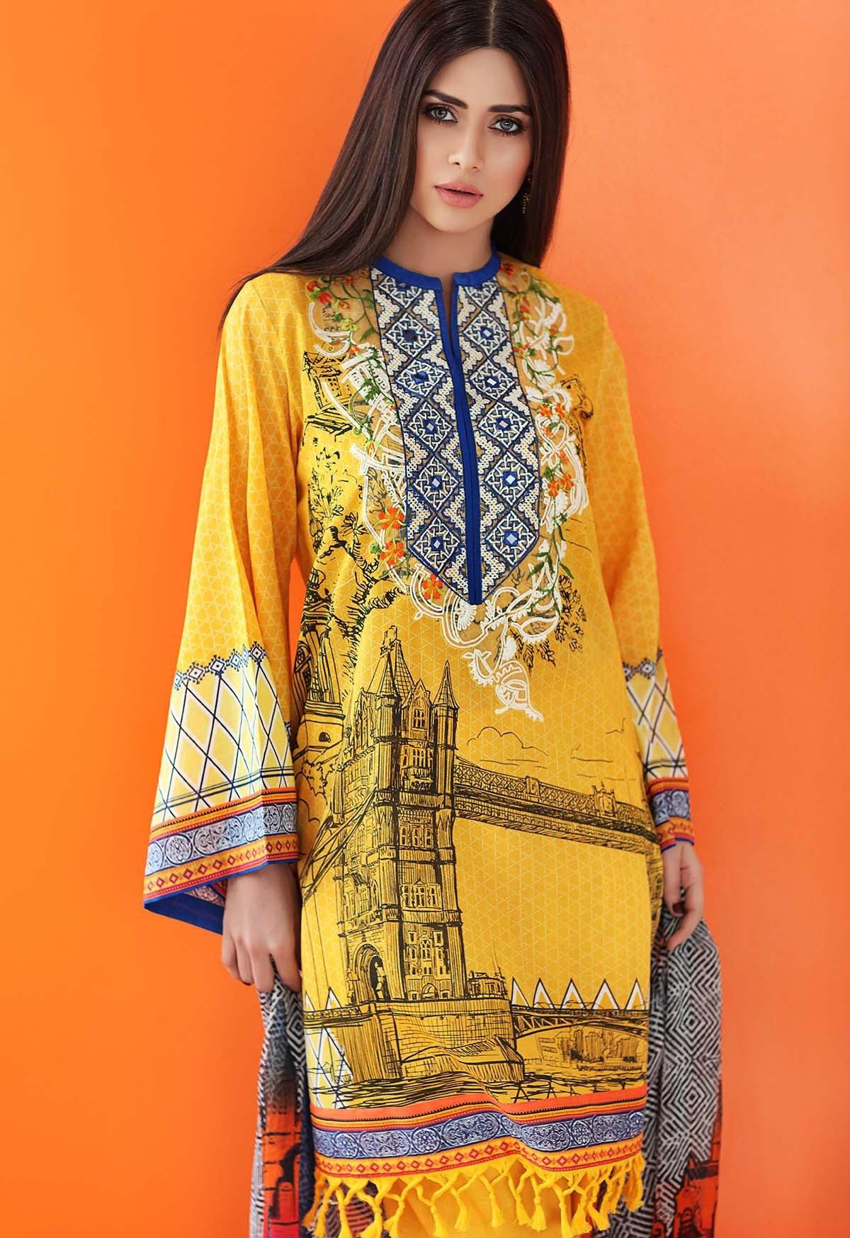 Yellow eid dress by Gul Ahmed