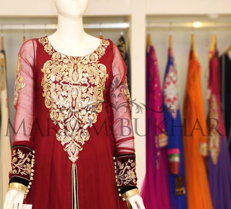 Red formal fancy frock by Mariam Bukhari