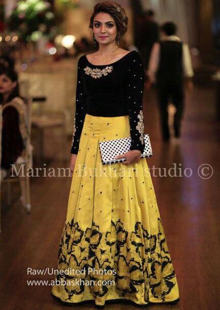 Black and yellow ghagra choli by Mariam Bukhari Designer