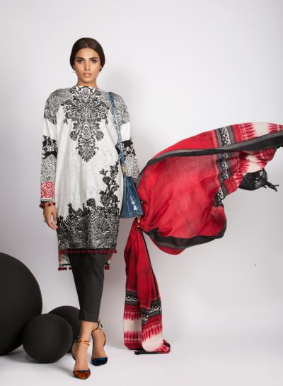Sana Safinaz embroidered Eid Dress with Maroon dupatta