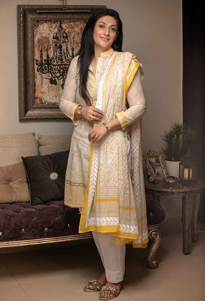 White and Yellow Two-Piece Lawn Suit TL-181 B