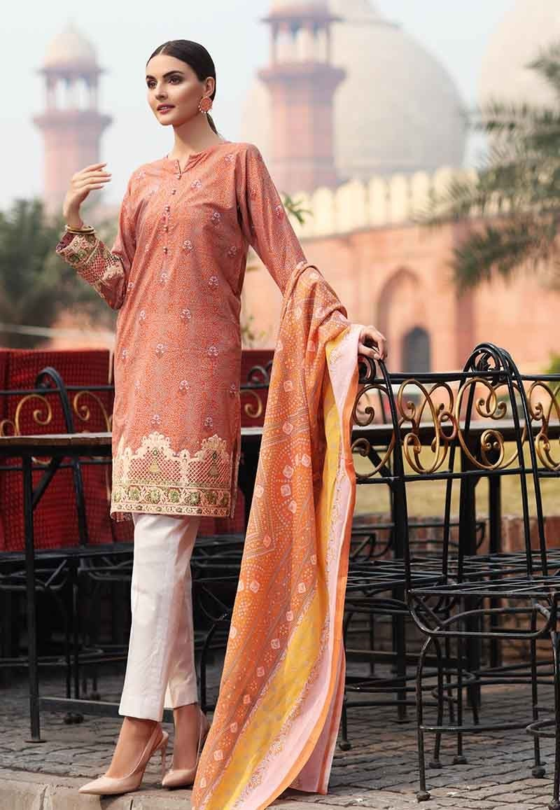Peach Two-Piece Lawn Outfit TL-203 A