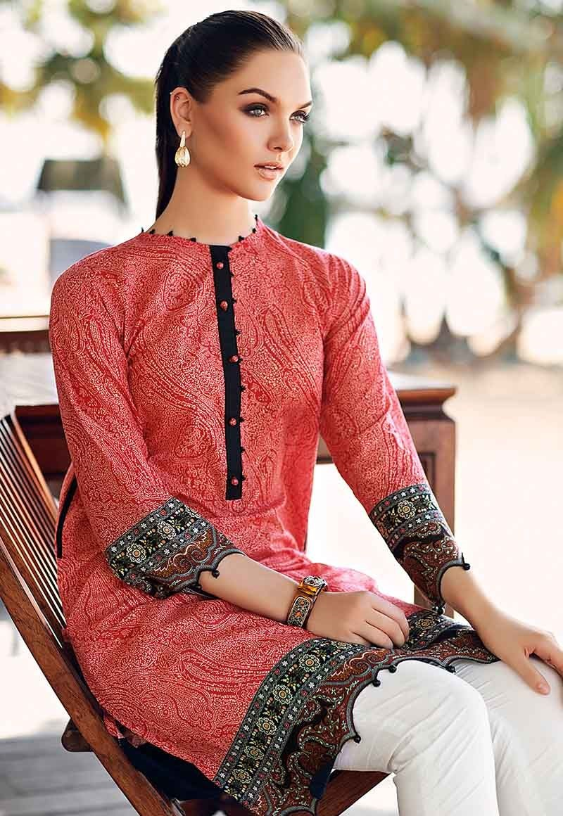 Red Shirt Piece Lawn Outfit SL-640
