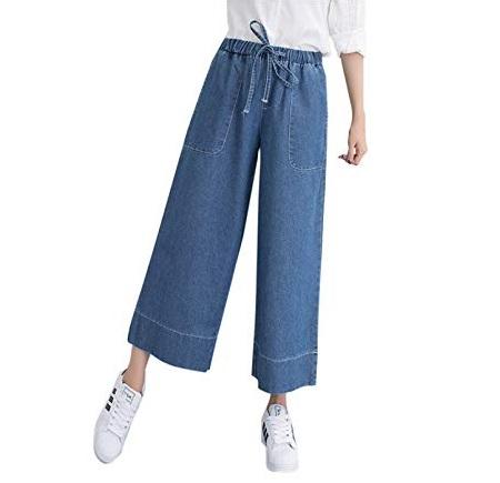 Wide-leg cropped denim pants trend